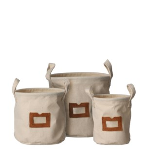 Jamie pot round off white set of 3 - 8x7""