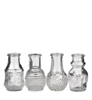 Single flower vase glass 4 assorted - 2x3.25""