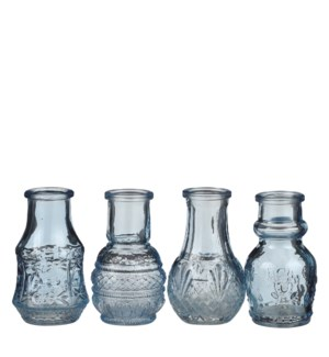 Single flower vase blue 4 assorted - 2x3.25""