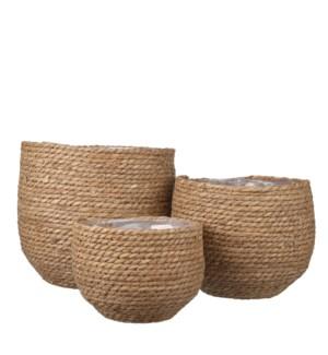 """Jorck basket round l. brown set of 3 - 10.25x9.5"""""""