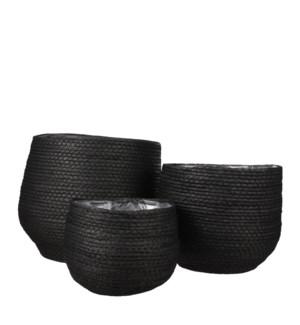 """Jorck basket round black set of 3 - 10.25x9.5"""""""