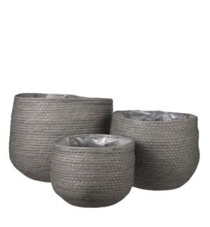 """Jorck basket round grey set of 3 - 10.25x9.5"""""""
