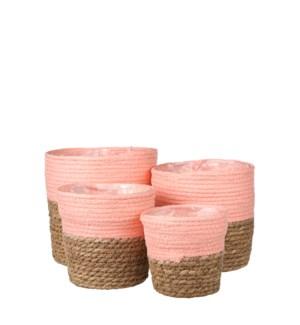 "Rachel basket round pink set of 4 - 7x7"""