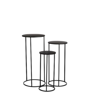 Quinty side table black set of 3 - 12.5x27.5""
