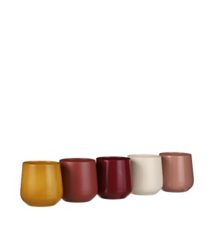 Amber pot round 5 assorted display - 3.75x4.5""