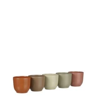 "Tusca pot round 5 assorted display - 3.25x2.75"""