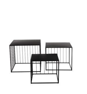 Paco side table black set of 3 - 19x19x17.25""