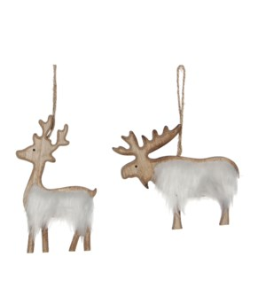 """Ornament animal white 2 assorted - 4.25x0.5x4.75"""""""