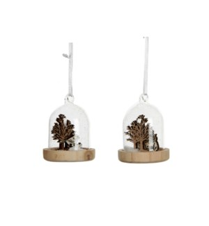 """Ornament owl brown white 2 assorted - 2.5x3.25"""""""