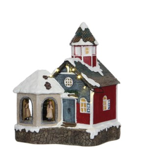Sint Lucia church battery operated - 7.75x6.25x9.25""