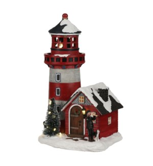 Lighthouse battery operated - 7.5x6.25x11.75""