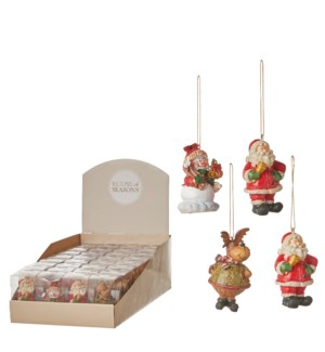 """Ornament christmas red brown white 4 assorted display - 1.75x1.75x2.75"""""""