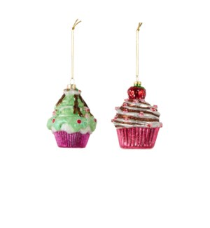 Ornament cupcake green red 2 assorted - 2.75x4""