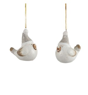 Ornament bird white 2 assorted - 1.75x1.25x2.5""