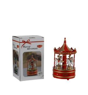 Musical box carrousel red - 4.75x9.25""