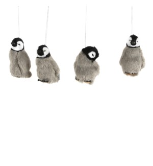 Ornament penguin grey 4 assorted - 2.25x1.75x3.5""