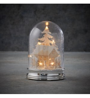 Cover winter scene warm white led battery operated - 4x5.5""