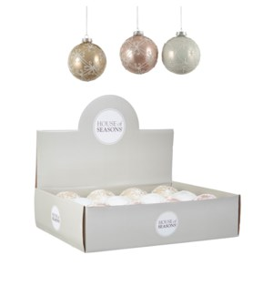 """Bauble glass white gold pink 3 assorted display - 4"""""""