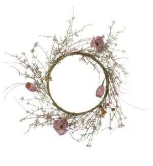 "Dried look wreath poppy pink - 11.75x2.25"""