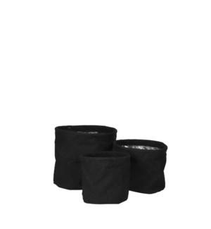 """Flexi pot round black set of 3 - 7x6.75"""""""