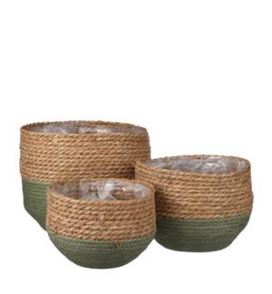 """Jorck basket round green set of 3 - 10.25x9.5"""""""
