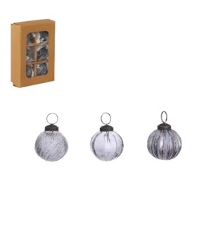 Bauble glass grey 6 pieces - 2""