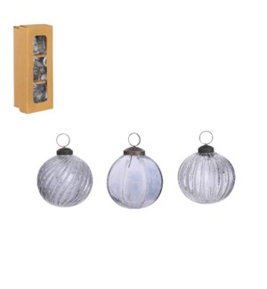 Bauble glass grey 3 pieces - 3.25""