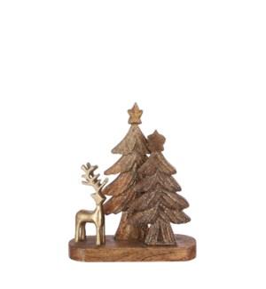 """Decoration deer tree brown glitter - 8.75x3x10.75"""""""