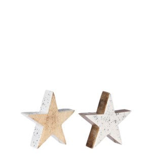 """Decoration star white l. brown 2 assorted - 6x1.5x6"""""""