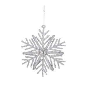 "Ornament snowflake silver - 3x0.5x3.25"""