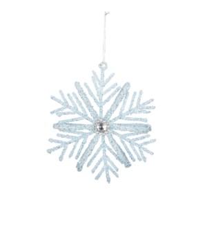 """Ornament snowflake l. blue - 3x0.5x3.25"""""""