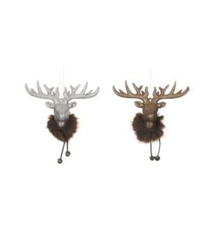 "Ornament deer head brown 2 assorted - 2.25x1x1.75"""