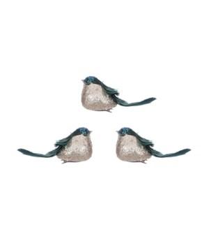 """Clip bird green 3 pieces - 6.75x2x2"""""""