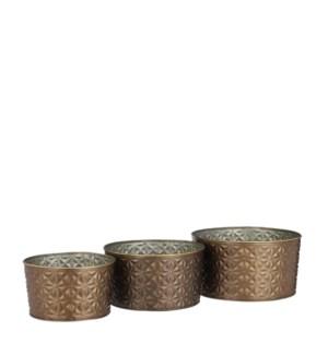 "Darrell pot round copper set of 3 - 9.25x5"""