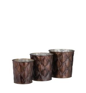 """Ceres pot round d. brown set of 3 - 7x6.75"""""""