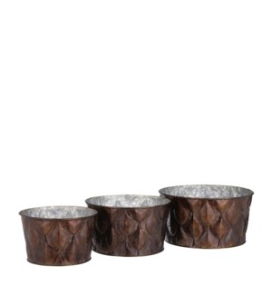 """Ceres pot round d. brown set of 3 - 9.25x5"""""""