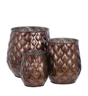 """Ceres pot round d. brown set of 3 - 13.75x14.25"""""""