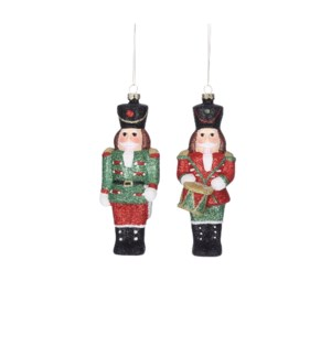 Ornament nutcracker green red 2 assorted - 2.25x1.5x6.25""