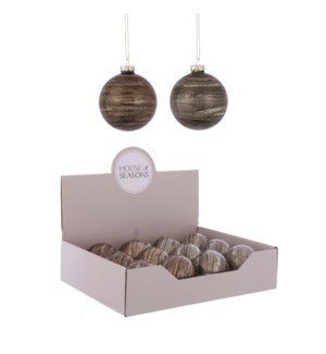 """Ornament ball brown grey 2 assorted display - 3.25"""""""