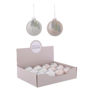 Ornament ball white transparent 2 assorted display - 3.25""
