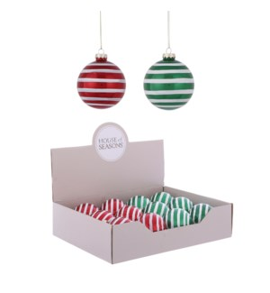Ornament ball red green 2 assorted display - 3.25""