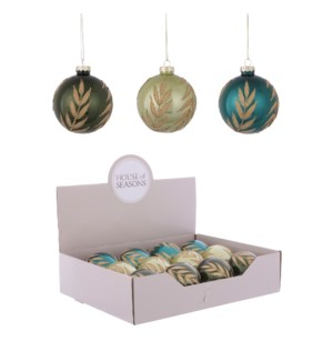 Ornament ball green l. green blue 3 assorted display - 3.25""
