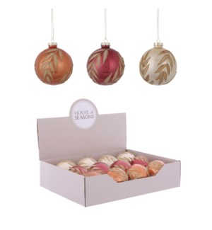 Ornament ball cream copper d. red 3 assorted display - 3.25""
