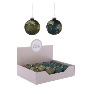 Ornament ball green blue 2 assorted display - 3.25""