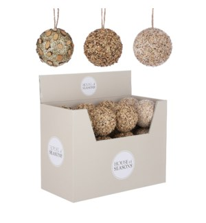 Ornament ball brown 3 assorted display - 4""