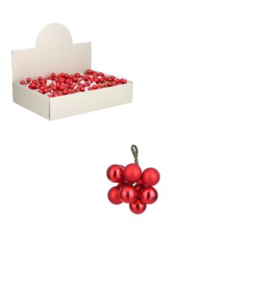 Bauble glass red 10 pieces display - 0.75""