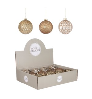 Bauble glass gold copper silver 3 assorted display - 3.25""