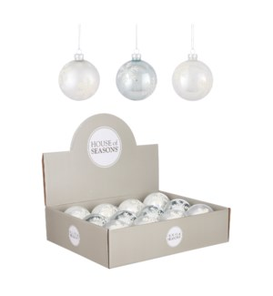 """Bauble glass white 3 assorted display - 3.25"""""""