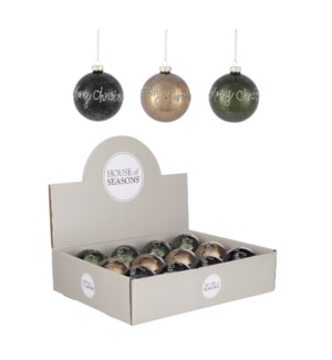 """Bauble glass xmas green black copper 3 ass display - 3.25"""""""