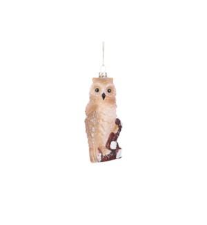 "Ornament owl champagne - 2.25x2x4.75"""